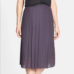 NWOT $78 Halogen Zipper Detail Pleated Midi Skirt